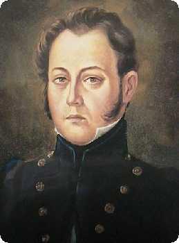 Juan Bernardo Domínguez y Gálvez (Oleo sobre tela de Arreola Juárez, 1967, que reproduce un grabado sobre papel hecho hacia 1825: hacer click para ver el grabado)